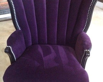 SOLD- CAN REPLICATE Vintage Channel Chair Wing Back Chair with Purple Velvet and Charcoal Velvet Brushed Silver Nail Heads
