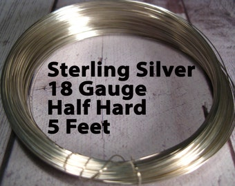 15% Off SALE!! Sterling Silver Wire, 18 Gauge, 5 Feet WHOLESALE, Half Hard, Round.