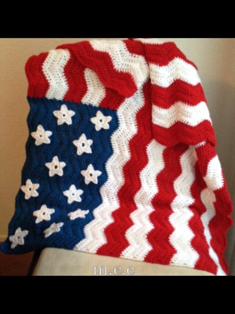 American flag inspired crochet lap afghan by Miyasbabyblankets