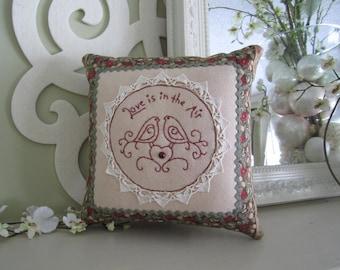 Redwork Pillow - Embroidered Love Pillow - Novelty Pillow - Lovebirds Pillow - Wedding Pillow