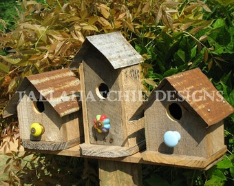 Birdhouses- Primitive Birdhouses -Rustic Birdhouses -Metal Roof Birdhouses- Barnwood Birdhouses- Wood Birdhouses- Farmhouse Garden Decor