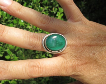 Sterling with Malachite Green Ring Size 7.5