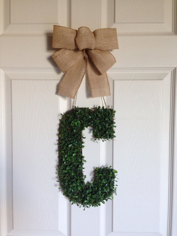 items similar to monogram boxwood letter  monogram for front door  wedding gift   monogram