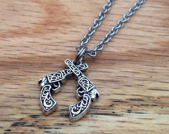 Double Pistol Necklace Crossed Pistol Necklace Country Silver Twin Gun Jewelry Western Cowgirl Necklace Country Two Guns Revolver Necklace