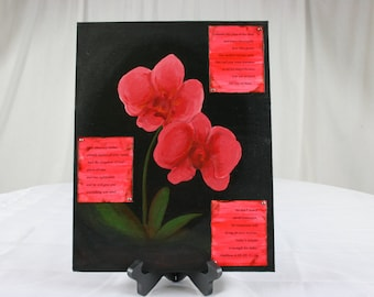 Matthew 6 Original Orchid Painting with Decoupage Scripture Notations