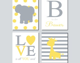 YELLOW GRAY Grey Nursery DECOR Wall Art Elephant Monogram Initial Quote Giraffe Set of 4 Prints Or Canvas Safari Jungle Animals Boy Decor