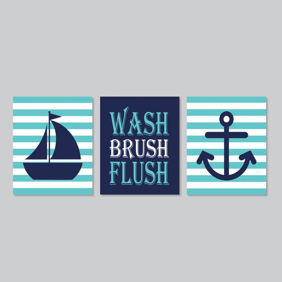 Kids Nautical Bathroom Decor Wash Brush Flush Wall Art Breeze