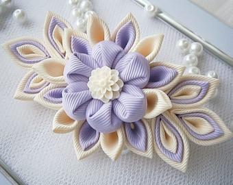 Handmade Kanzashi fabric flower grosgrain ribbon french barrette - ladies women hair accessories in UK,shipping worldwide