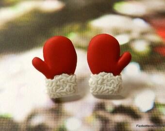 Red Mittens Santa Gloves Post Earrings W/Nickel Free Backs Christmas Holiday Parties