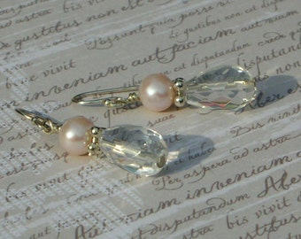 Pink Pearl and Quartz Drop Earrings
