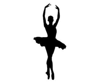 Tall Dancing Ballerina - Silhouette Ballet Dancer - VINYL DECAL STICKER