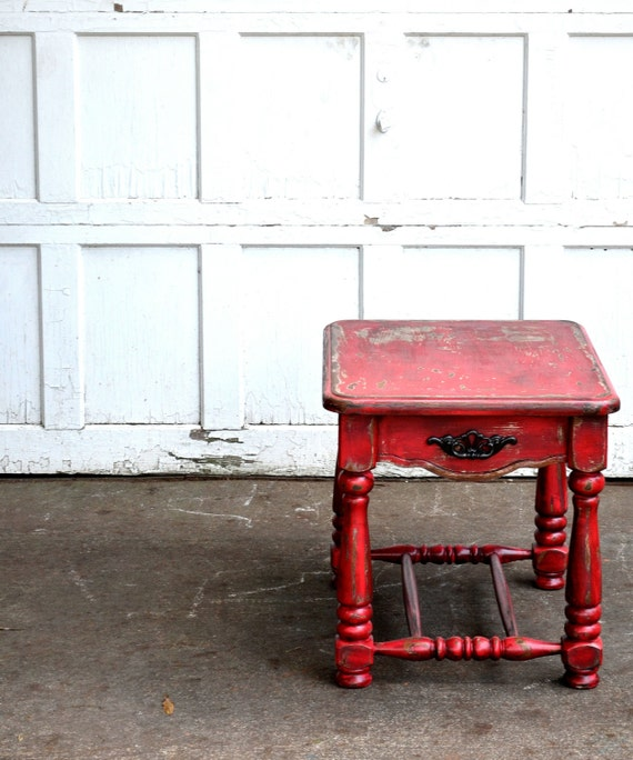 chalk painted distressed furniture barn red rustic fall sidetable hand