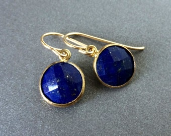 Lapis Earrings, Lapis Gold Earrings, Lapis Silver Earrings, Faceted Round Lapis, Delicate Lapis in Gold Frames