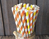 50 Fall Colors Paper Straws Combo, Brown, Orange, and Yellow Striped Straw Combo Pack