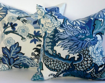 Pair of Schumacher Chiang Mai Dragon PIllow Covers in China Blue