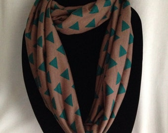 Infinity Scarf, Green and Mocha Triangle Print Scarf - Slightly Flawed