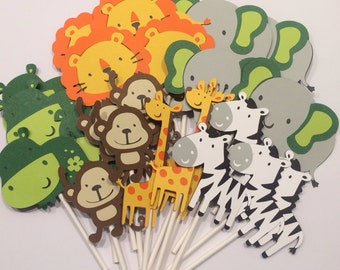 24 Zoo or Jungle Themed Cupcake Toppers