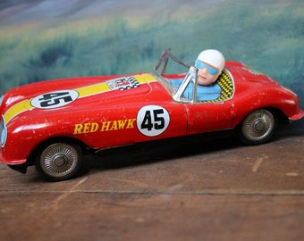 Champion Red Hawk 45 Tin Litho Friction Japan Race Car