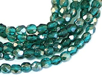 Veridian Dark Teal Celsian 6mm Firepolish, Faceted Round Fire polished Czech Glass Beads x 25