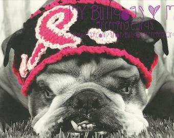 Card #48 / Pretty in Pink ~ English Bulldog Breast Cancer Greeting Card *Blank Inside*