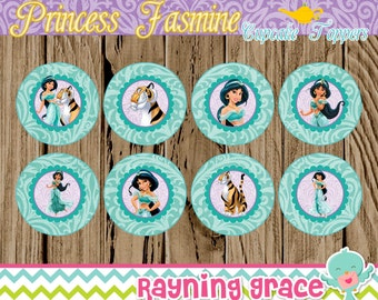 Princess Jasmine Birthday Cupcake Toppers (Instant Download)