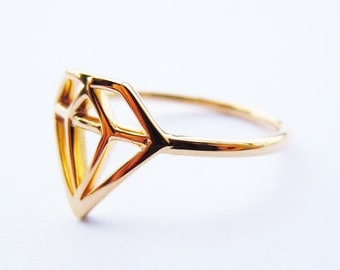 Solid 18k Yellow Gold Diamond Shape Ring Engravable All Sizes