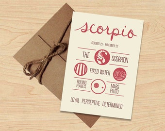 Summer Sale! Scorpio Card! Astrological Sun Sign, Zodiac Design. Stationery, Birthday Gift. Envelope included.