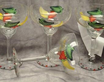 Hand painted, Mucho Margarita glasses, set of 4