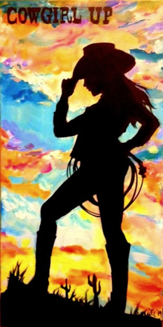 """Cowgirl against colorful sunset with """"Cowgirl Up"""" 12 x 24 in."""