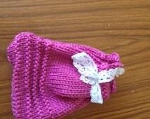 Pink Gift Bag, Small Pink Bag, Yarn Bag, Wool Bag, Pink Yarn Bag, Pink Wool Bag, Make Up Bag, Pink Make Up Bag, Wool Make Up Bag, Small Bag