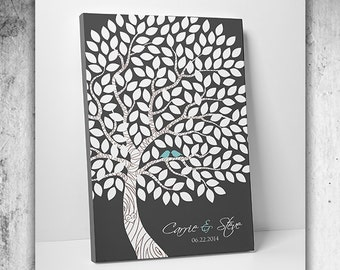 Custom Wedding Guest Book // Unique Wedding Guestbook // Wedding Tree Guestbook // Canvas or Print // 55-150 Guests 16x20 Inches