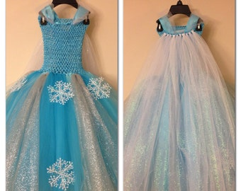 Elsa dress with cape inspired from frozen movie and FREE hairpiece - elsa inspired costume - size nb to 12 years