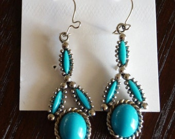 Vintage Vintage Earrings With Turquoise Blue Stone Accents