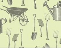 Antique Garden Tools Fabric -designed by Paula Scaletta for Blue Hill Fabrics 8072-23 Green - 1/2 yard