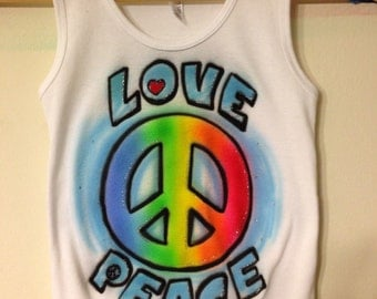 Airbrushed Love & Peace Kids Tank Top