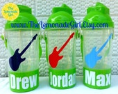 Personalized Sippy Cup WITH Snack Holder & Pop Up Straw, Personalized Bottle, Guitar Party Favor,Birthday Favor, Rock Star Birthday,Set of 5
