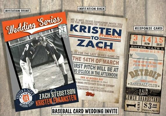 Baseball Wedding Invitation: Baseball Card Wedding Invitation And Response Card By