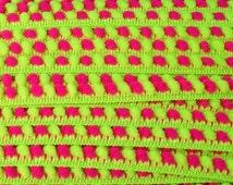 1 yard ribbon pom pom trim neon pink and green