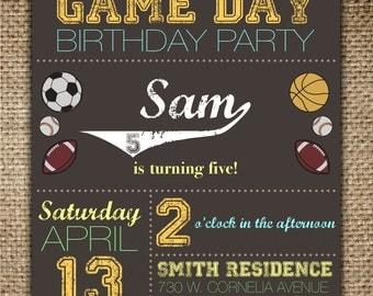 Children's Birthday Invitation : Sports Theme/Game Day with Baseball, Basketball, Football, Soccer