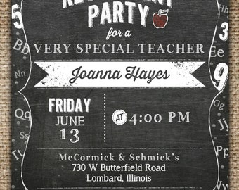 Retirement Party Invitation : Teacher & Chalkboard Theme