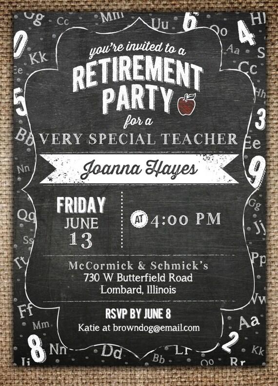 retirement party invitation   teacher  u0026 chalkboard theme