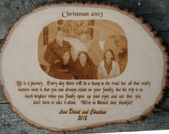 Picture Engraved Bark Plaque  9 x 13