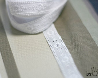 "14Yds Broderie Anglaise cotton vintage wedding ribbon eyelet  lace trim 0.5"" white YH1241 laceking2013"