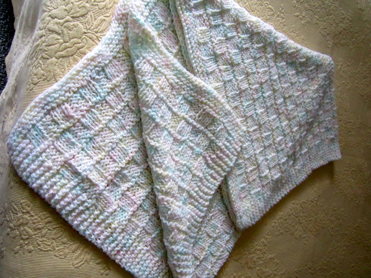 Hand Knitted baby afghan soft pastels very soft baby yarn