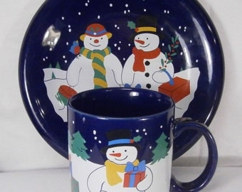 Lillian Vernon Snowmen with Gifts Plate and Mug Vintage 1992