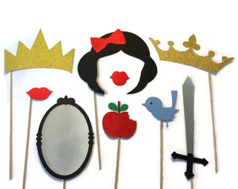 Photo Booth Props - Snow White Themed ( Glitter) - 9 Piece Set