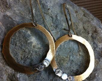 Bronze & Sterling Silver Earrings