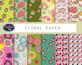 Floral digital paper, Digital paper, Floral background, Spring digital paper, Shabby chic paper, Vintage flowers, Digital scrapbook