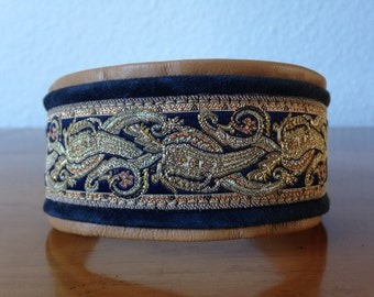 1030-beautiful Greyhound collar made of soft leather trim with brass buckle
