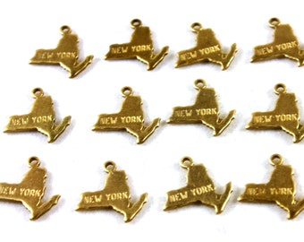6x Brass Engraved New York State Charms - M057-NY